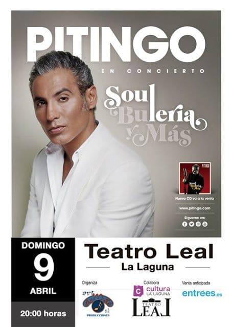 Pitingo actuará el próximo 9 de abril en el Teatro Leal de La Laguna